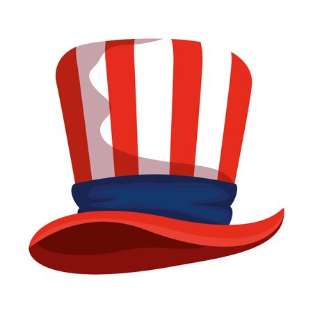 tophat with united states of america flag vector illustration design