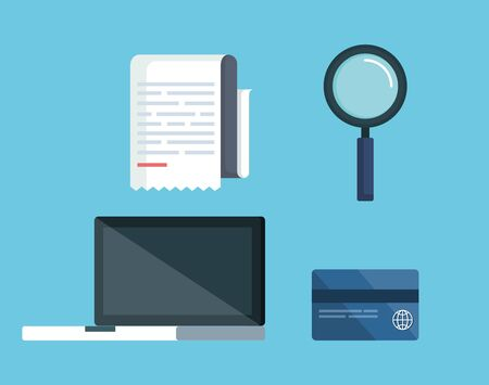 set service tax with laptop and credit card vector illustration Vectores