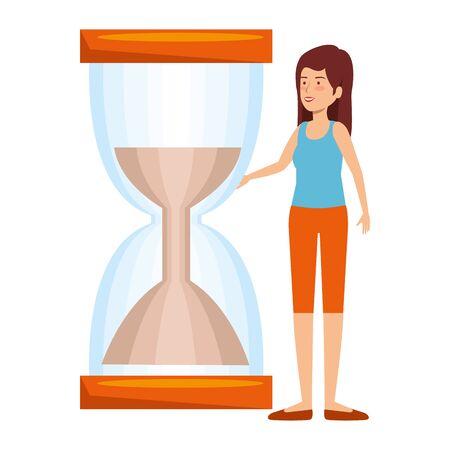 beautiful woman with hourglass vector illustration design Ilustração