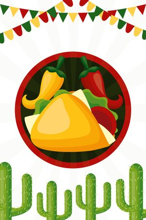 taco chili pepper cactus celebration garland cinco de mayo vector illustration