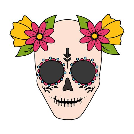 catrina skull flower character vector illustration design vector illustration Standard-Bild - 129586692