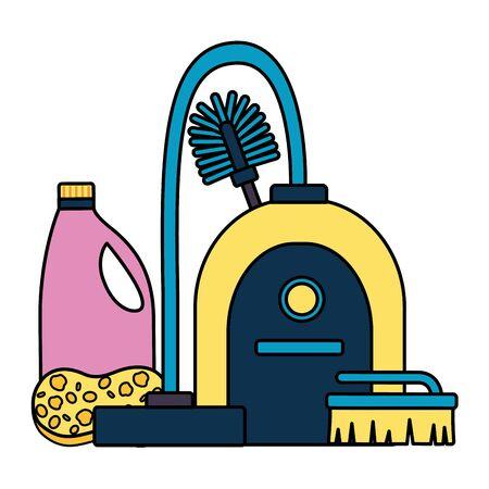 vacuum toilet brush sponge detergent spring cleaning tools Illustration