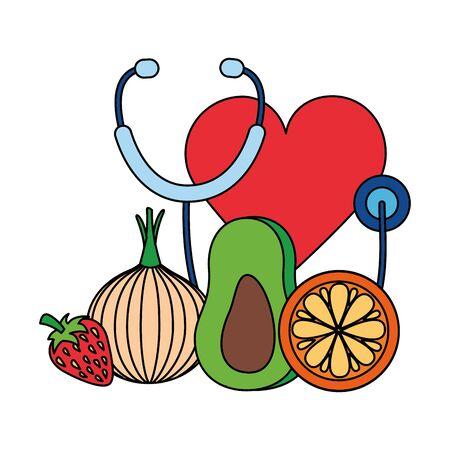 avocado onion orange heart stethoscope world health day vector illustration