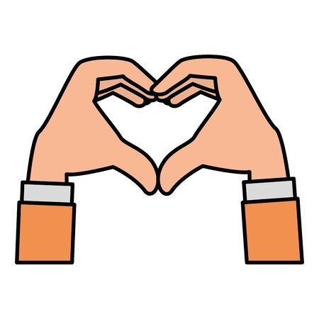 hands forming a heart vector illustration design Çizim