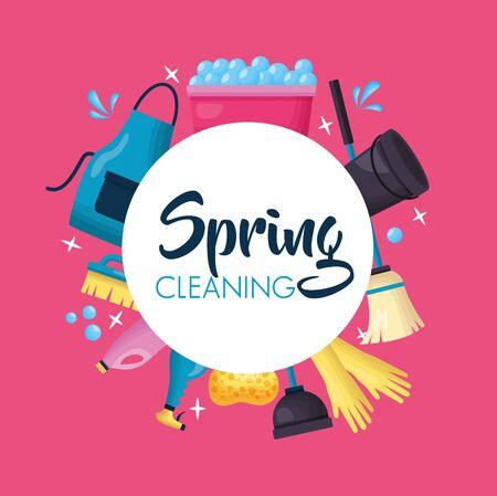 washing bucket apron broom brush bottle spring cleaning tools vector illustration