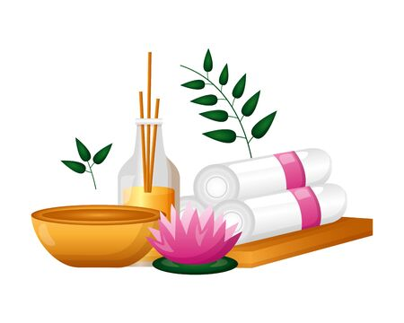 aromatherapy sticks towels mortar  flower spa treatment therapy vector illustration Banco de Imagens - 129418266