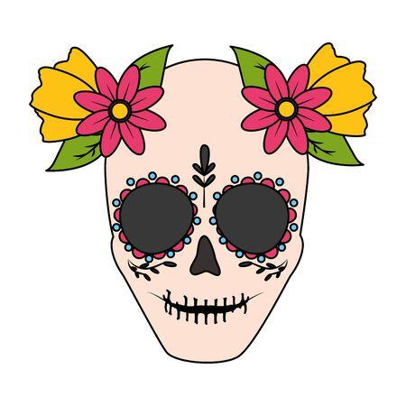 catrina skull flower character vector illustration design vector illustration Standard-Bild - 129418293