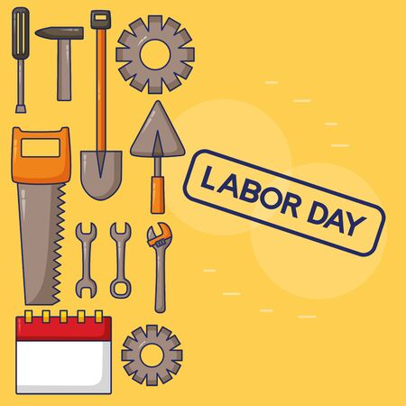construction tool work labour day vector illustration Illustration