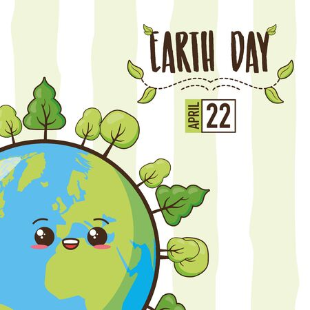 planet forest earth day card vector illustration