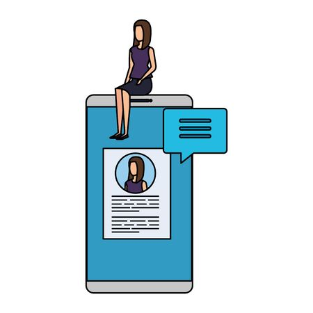 businesswoman sitting in smartphone with employment app vector design