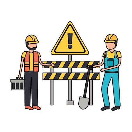 construction workers barrier shovel toolbox vector illustration Stock fotó - 129477584