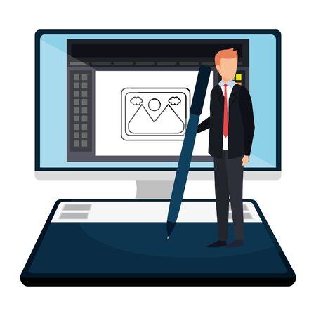 elegant businessman with pen in desktop vector illustration design Stok Fotoğraf - 129483555