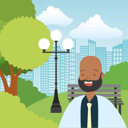 businessman park city street bench lamp tree urban vector illustration Illusztráció
