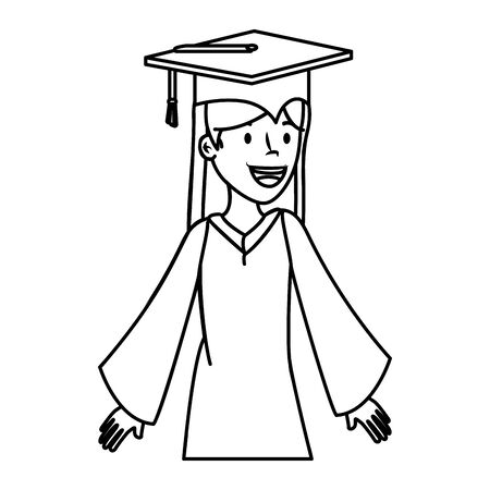 young student graduated girl character vector illustration design Illusztráció