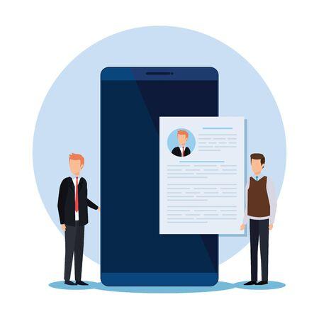 professional businessmen with curriculum vitae and smartphone vector illustration Illustration