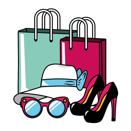 pop art high heel shoes hat eyeglasses shopping bags vector illustration Stock Illustratie