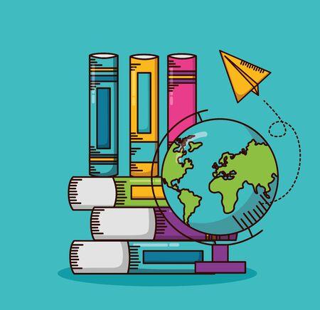 globe books paper plane school teachers day vector illustration design Illusztráció