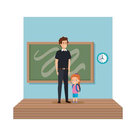 teacher male with schoolgirl in classroom vector illustration design  イラスト・ベクター素材