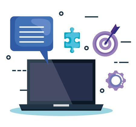 laptop with business marketing vector illustration design Stock Illustratie