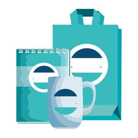 mug and shopping bag and notepad with company emblem vector illustration Ilustracja