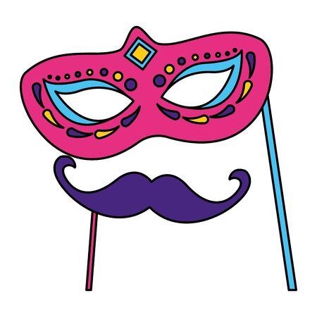 carnival mask and mustache vector illustration design Ilustração