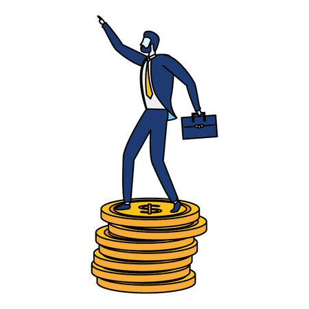 businessman coins money stacked business success vector illustration Illustration