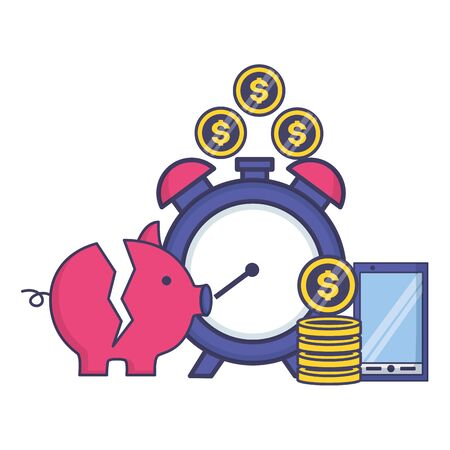 piggy bank clock phone money tax time payment vector illustration Stock Illustratie