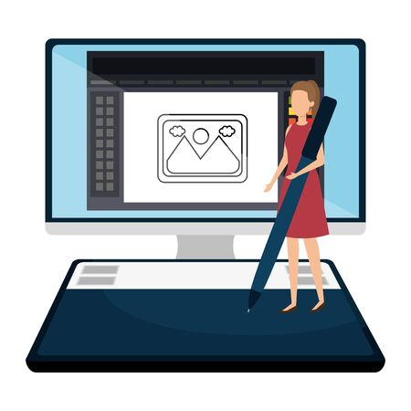 elegant businesswoman with pen in desktop vector illustration design Stok Fotoğraf - 129483784
