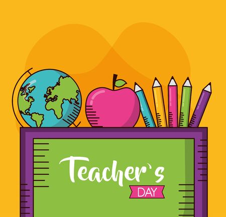 school desk apple globe colors pencil teachers day