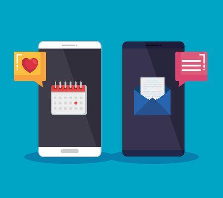 tecnologia degli smartphone con illustrazione vettoriale di bolla di chat e lettera media