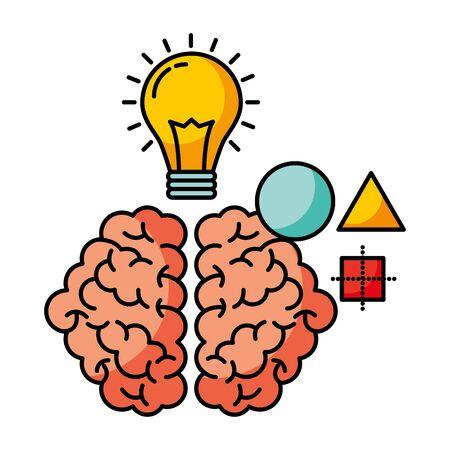 brain light bulb creativity idea vector illustration