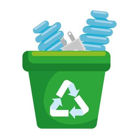 garbage pot with recycle arrows and bulbs vector illustration design