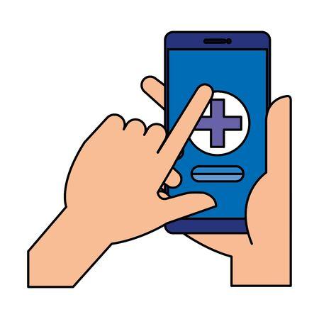 hands using smartphone with medical cross telemedicine vector illustration design