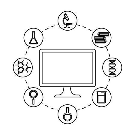 desktop computer with telemedicine icons vector illustration design Çizim
