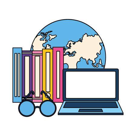 laptop world books eyeglasses learning vector illustration