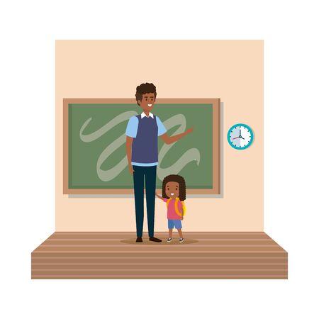 teacher male with schoolgirl in classroom vector illustration design Stock Illustratie