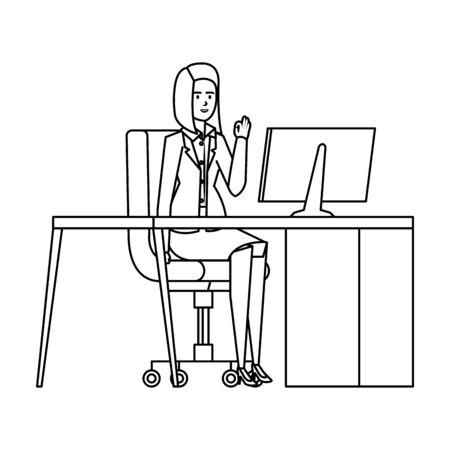 elegant businesswoman in the workplace vector illustration design