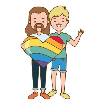 happy couple men lgbt pride vector illustration