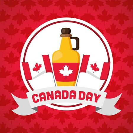 canadian flags and maple syrup happy canada day vector illustration