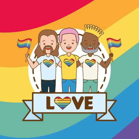 group men with flag lgbt pride vector illustration Foto de archivo - 129480210