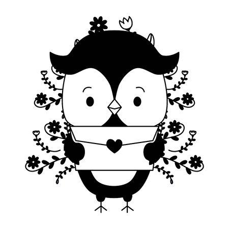 cute owl cartoon mail love vector illustration