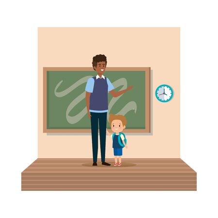 teacher male with schoolboy in classroom vector illustration design 写真素材 - 129483880