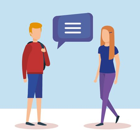 couple with speech bubbles vector illustration design