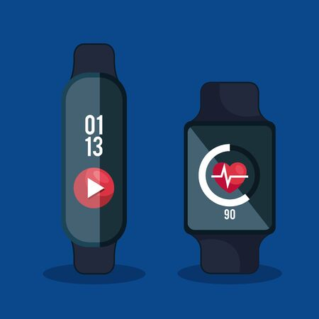 smartwatches technology with video and heartbeat app vector illustration Banque d'images - 129483897
