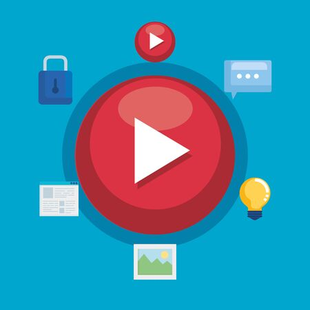 media video with chat bubble and document information vector illustration 写真素材 - 129483895