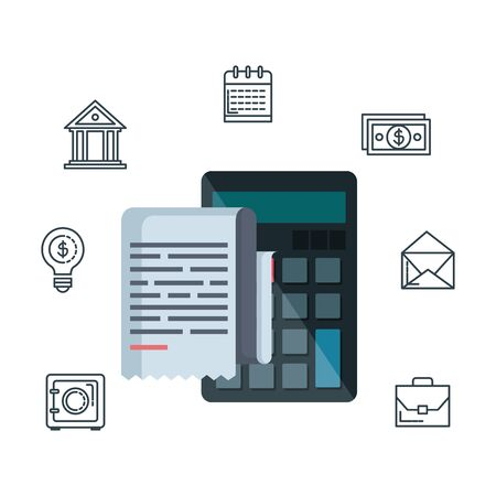 calculator math with tax financial vector illustration design Stock Illustratie