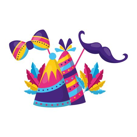 carnival party hats feathers mustache festive vector illustration Çizim