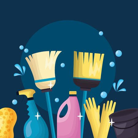 broom spray liquid soap plunger sponge spring cleaning tools vector illustration Stockfoto - 129427773