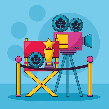 cinema movie projector chair award film reel Standard-Bild - 129480244