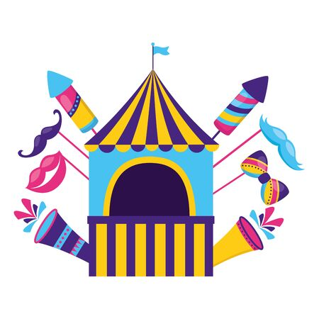 carnival booth flag rockets fireworks on white background Illustration